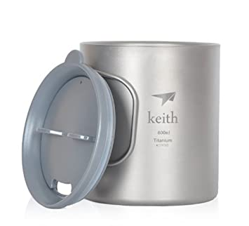 Keith Titanium Double Wall Mug Utralight Camp Mug Durable Outdoor Cup for Camping Hiking Picnic Backpack