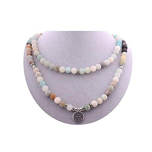 Zhepin 8MM Amazonite 108 Mala Beads Charm Bracelet for Men Women Yoga Bracelet Necklace by Zhepin (Image #4)