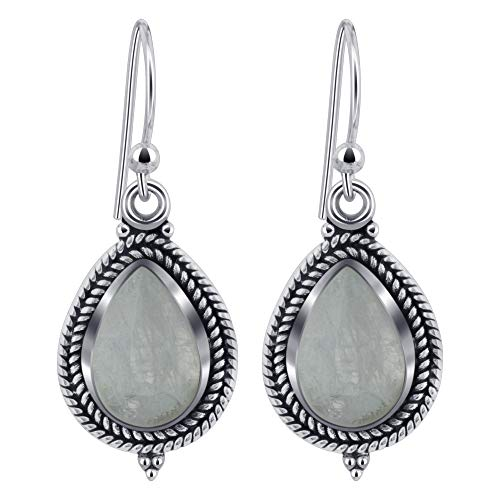 (Gem Avenue 925 Sterling Silver Pear Shape Moonstone Gemstone Bali Design Bezel Setting Drop Earrings for women)