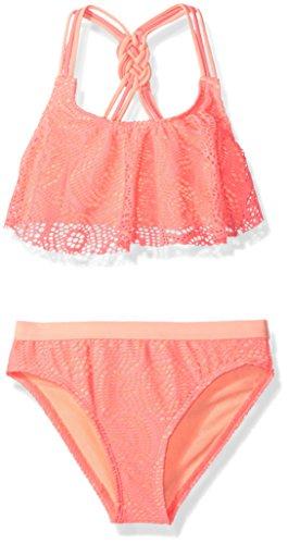 Angel Beach Big Girls' Swim Crochet Flounce Bikini Set, Pink, 10