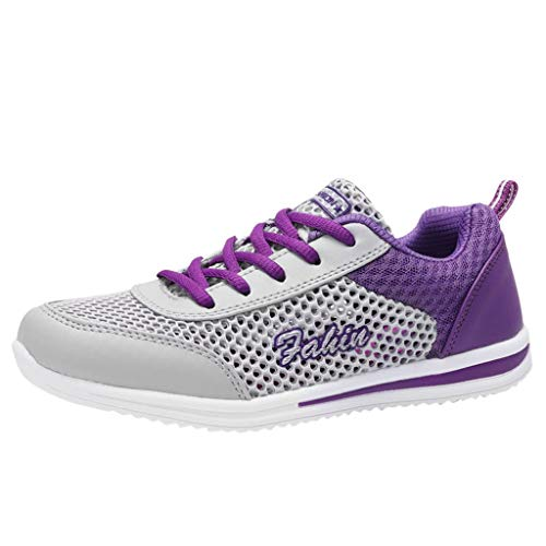 Moc Croco - OrchidAmor Fashion Women's Mesh Breathable Sneakers Casual Shoes Student Mesh Breathable Running Shoes 2019 Summer Swag Shoes Purple