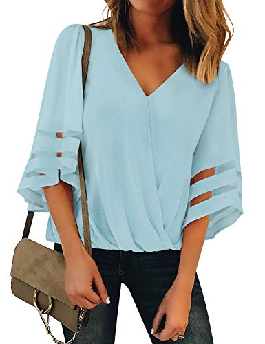 (LookbookStore Women's Casual Vneck Mesh Panel Tops 3/4 Bell Sleeves Summer Faux Wrap Ruched Blouse Shirts Light Blue Size Large)