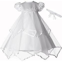 Lauren Madison Baby-Girls Newborn Handkerchief Skirt Dress Gown Outfit, White, 0-3 Months