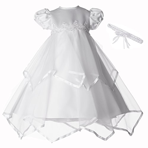 Lauren Madison Baby-Girls Newborn Handkerchief Skirt Dress Gown Outfit, White, 0-3 Months ()