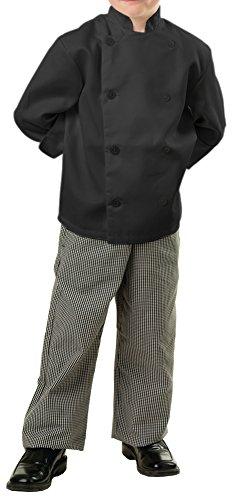 Childrens Classic Long Sleeve Chef Coat, KS, Black Classic Mens Chef Coat