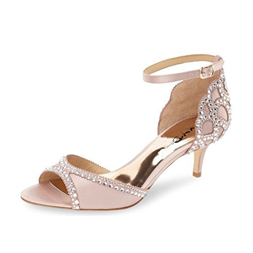 XYD Ballroom Dance Shoes Wedding Sandals Pumps with Rhinestones Ankle Strap Peep Toe Heels for Women Size 8.5 Pink