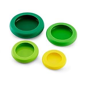 Farberware Food Huggers Reusable Silicone Food Savers, Set of 4, Fresh Greens