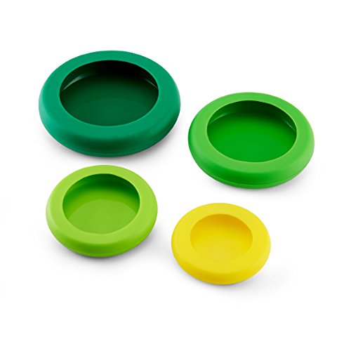 Farberware Food Huggers Reusable Silicone Food Savers, Set of 4, Fresh Greens
