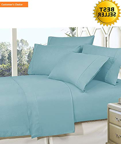 Mikash New Soft Best, Softest, Coziest Bed Sheets Ever! 1800 Thread Count Egyptian Quality Wrinkle-Resistant 4-Piece Sheet Set with Deep Pockets 100% Hypoallergenic, King Aqua Blue | Style 84599349