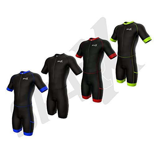 Sparx Triathlon Race Suit | Short Sleeve Aero Tri Suit | Men Triathlon Suit | Triathlon Race Suit 2017 | Skinsuit | Trisuit | Swim-Bike-Run (Black/Blue, XL) ()
