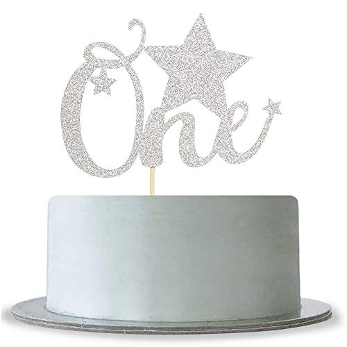 (One with Star Cake Topper Silver Glitter Baby Happy 1st birthday Party - Happy Birthday Party Decoration Supplies)