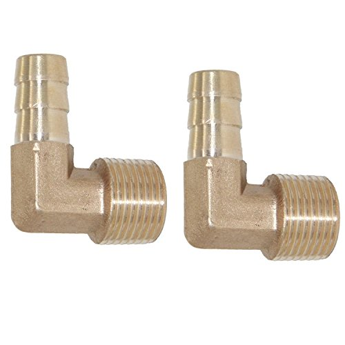 Joyway 2Pcs Brass Hose Fitting, 90 Degree Elbow, 3/8