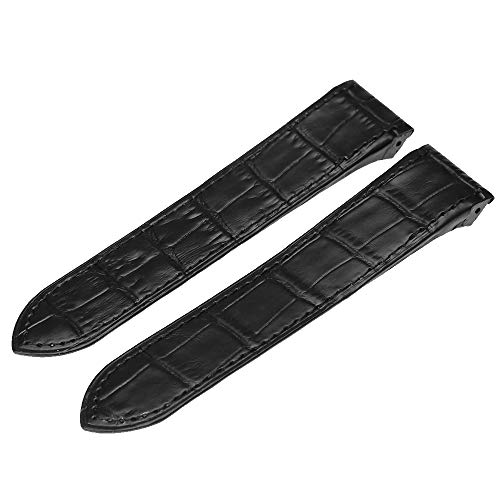 (Anxingo 23MM Black Leather Watch Band Strap for Cartier Santos 100XL 38MM)