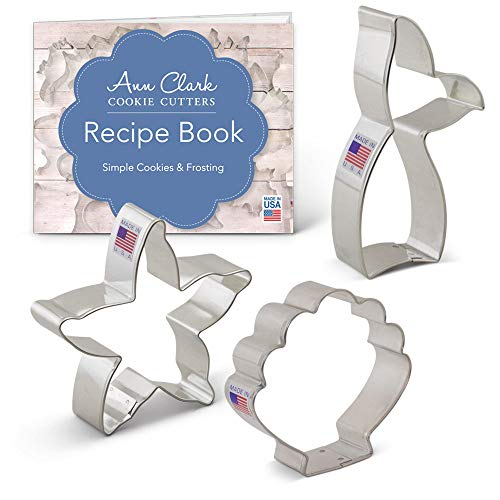 Mermaid Cookie Cutter Set with Recipe Book - 3 piece - Mermaid Tail, Starfish, Seashell - Ann Clark - USA Made Steel -