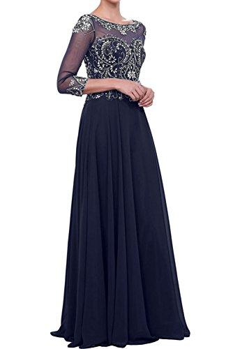 Ivydressing Damen A-Linie Steine Abendkleider Mit Aermeln Chiffon Festkleid  Ballkleider Dunkelblau pXtAdwpR c0b806e243