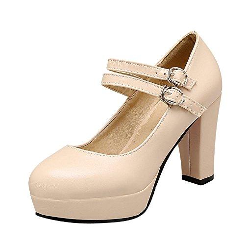 Mee Shoes Damen Schnalle Plateau runde chunky heels Pumps Beige