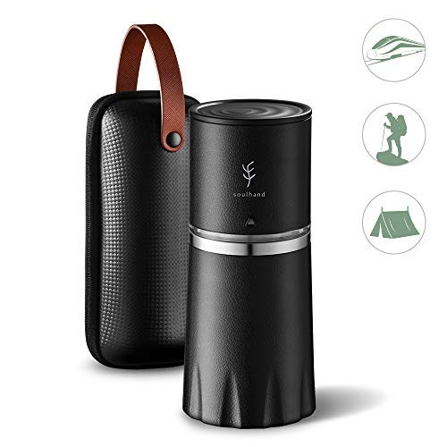 PERFECT GIFT -Soulhand Portable Coffee Grinder Set,Manual Coffee Grinder with Adjustable Ceramic Burr and Foldable Hand Crank, All -in-One Coffee Maker for Travel Camping Working Office (with Storage bag -Black) by SOUL HAND