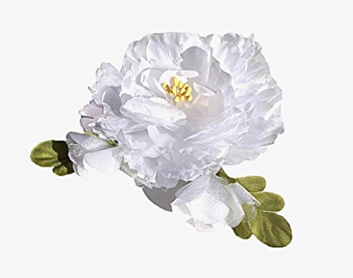 Cuteque-International-Organza-and-Silk-Peony-with-2-Rosebuds-Attached-Pack-of-3-4-White