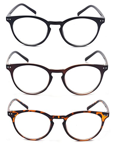 Outray Vintage Inspired Small Nails Round 3 Pack Metal Hinges Frame Reading Glasses 3 Pairs
