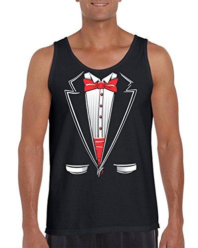 Classic Red Tie and Pockets Popular Tuxedo Men's Tank Top Shirt for Men(Black,Medium)