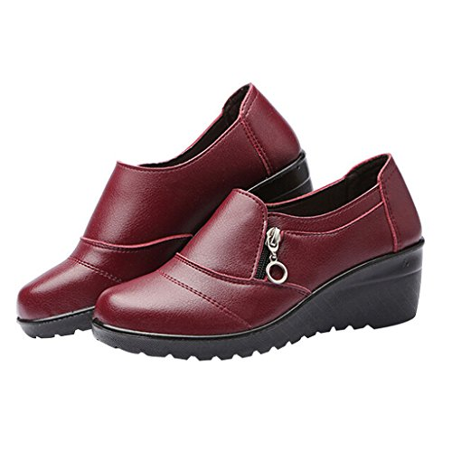 Dear Time Women Zipper Low Heel Leather Shoes Red k1ZFHPB