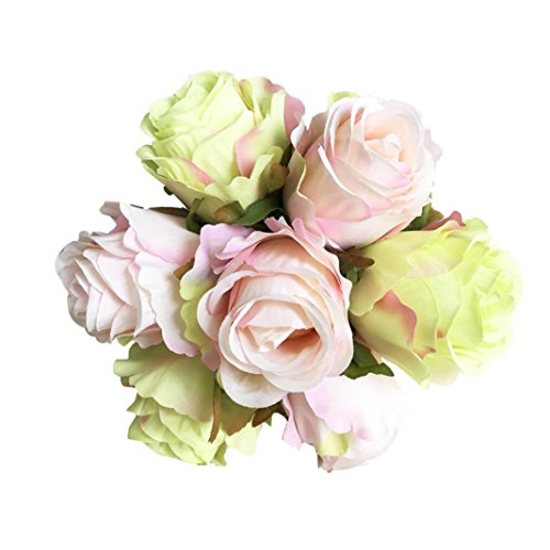YJYDADA Flower,1Bouquet 7 Heads Artificial Peony Silk Flower Leaf Home Wedding Party Decor (C)