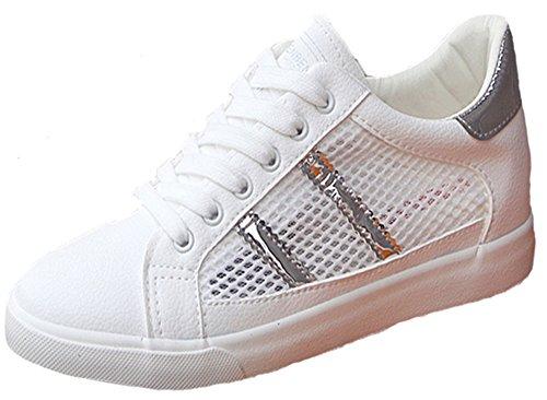Aisun Damen Cut Out Glitzer Luftig Slipper Flach Sneakers Freizeitschuh Silber