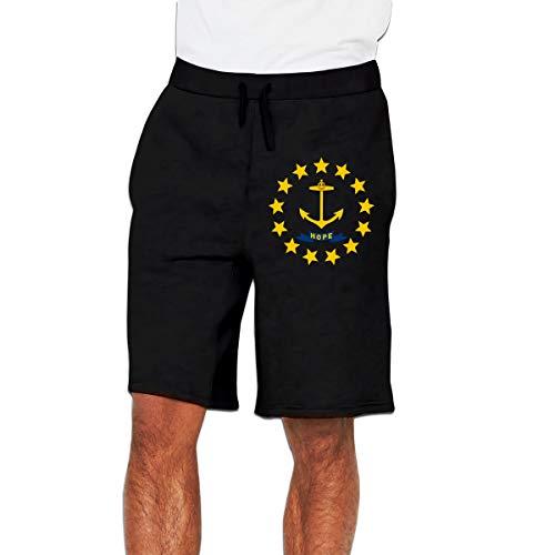 Chen76 Rhode Island Men's Soft Loose-Fit Workout Fleece Shorts - Rhode Island Linen