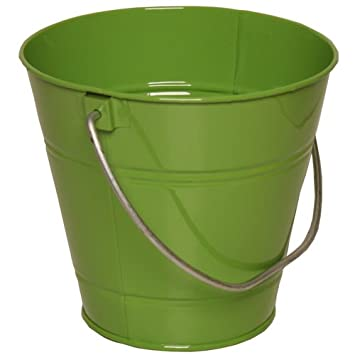 Solid Lime Green Large Metal Pail Bucket - sold individually