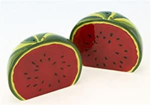 """Watermelon Design Salt & Pepper Shaker Set - Placed Together They Look Like a Whole Watermelon - 3"""" X 2.5"""""""