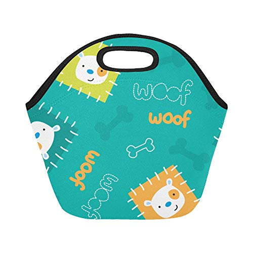 Insulated Neoprene Lunch Bag Glamour Design Style Creative Large Size Reusable Thermal Thick Lunch Tote Bags Lunch Boxes For Outdoor Work Office School