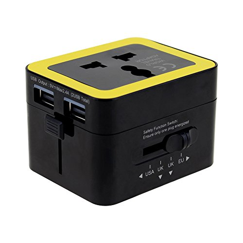 Travel Adapter , Wonplug Worldwide All in one Electronic Travel Adaptor Wall AC Power Plug Adapter with Dual 2.4A USB Charger Ports for EU UK AUS Tablet Cell Phone ( Black)