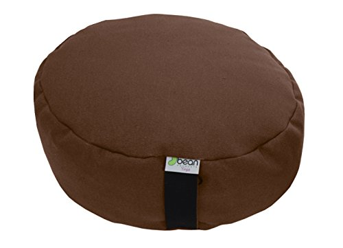Bean Products Hemp Cocoa - Round Zafu Meditation Cushion - Yoga - Organic Buckwheat Fill - Made in USA