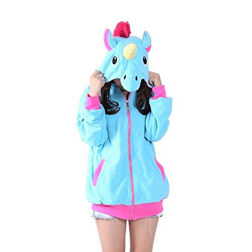 KiKa Monkey Cosplay Unicorn Animal Chaqueta con capucha Jacket traje de fiesta del suéter Azul