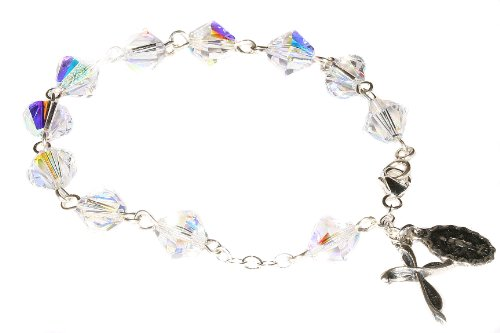 (Womens Rosary Bracelet made w/Clear AB Swarovski Crystals (April) - Confirmation, RCIA, Wedding, Christmas, Easter, Birthday & more)