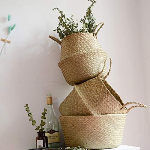 Iaywayii Cestas RetroFoldable Seagrass lavander/ía cester/ía Macetas Colgantes plantador de rat/án Tejido de cestas de Almacenamiento sucios Home Garden