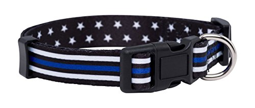 Native Pup Thin Blue Line Dog Collar- Stars (Large) ()
