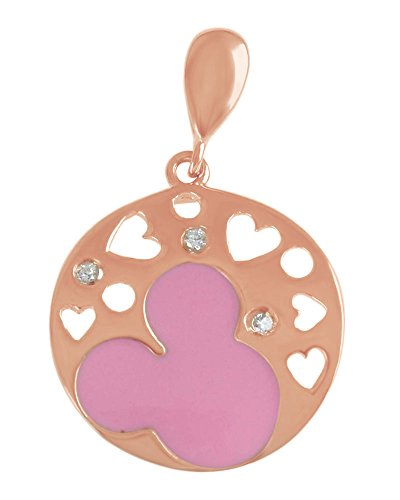 amel Cubic Zirconia Cut Out Heart Mickey Mouse Disc Charm Pendant Necklace 925 Sterling Silver (Cut Out Disc Charm)