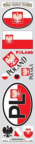 Car Chrome Decals Poland 11 Stickers Set Polish Polska Flag Decals Bumper car auto Bike Laptop STS-PL (Polish Flag Car Decal)
