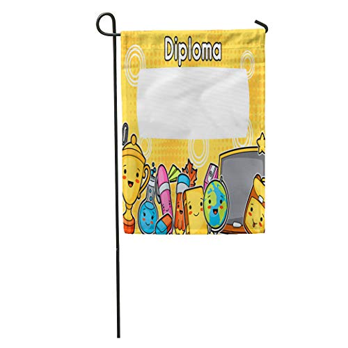 - Semtomn Garden Flag Cartoon Kawaii School Diploma Cute Education Supplies Stationery Asian Award Home Yard House Decor Barnner Outdoor Stand 12x18 Inches Flag