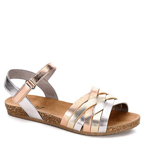 Girls Slingback - B JORNDAL Bjorndal Girls Cheyenne Flat Sandal Shoes, Med Metallic, US 3 Little Kid