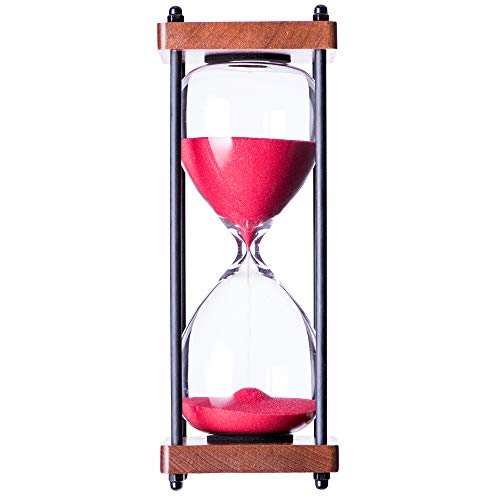 Hourglass 30 Minute Sand Timer, Colorful Gift Package Sand Clock, Red (Glass Red Hour)