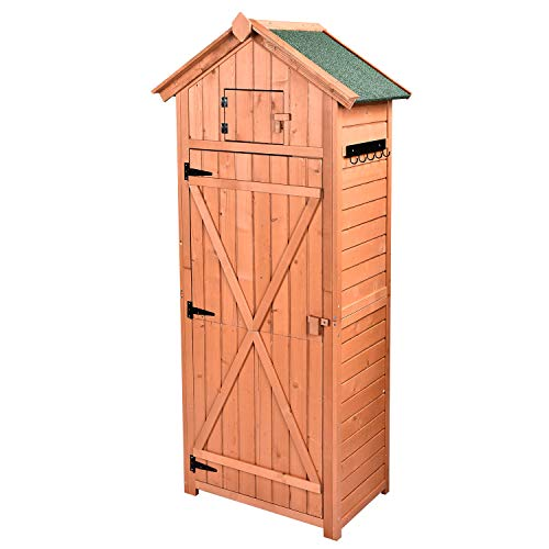 HooWii Outdoor Wooden Storage Shed – Garden Tool Storage Cabinet with Fir Wood Lockers, Tall Waterproof Storage Tool Shed for Home, Garden, Outdoor