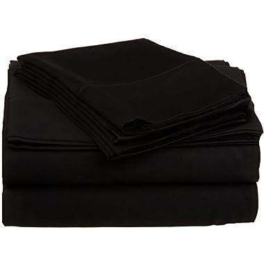 High Class Sheet 1000 Thread Count 100% Egyptian Cotton 2PC Top Sheet/Flat Sheet King Size-- Black .