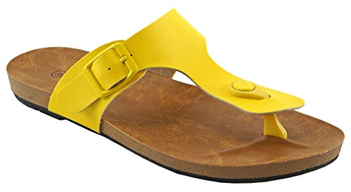 Sandalia De Viaje Cambridge Select Mujeres Thong Buckle Flat Yellow