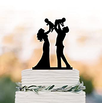 Funny Family Wedding Cake Topper With Twins Baby Bride And Groom