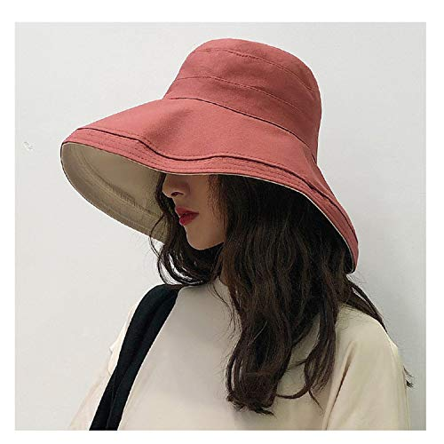 New Anti-UV Wide Brim Cotton Linen Sun Hat Vacation Summer Panama Foldable Bucket Hat Watermelon Red One Size