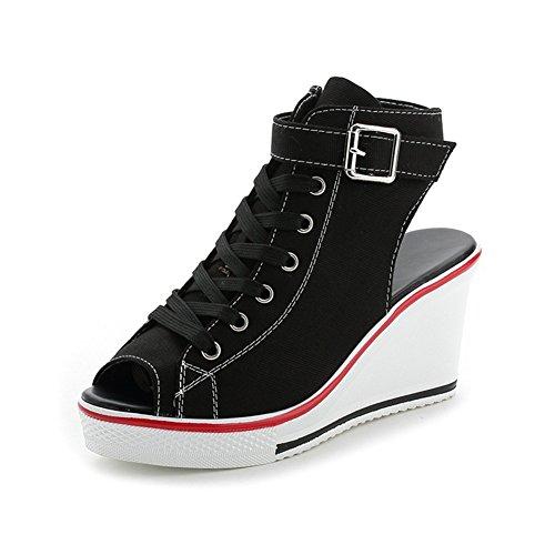 Zapatos de Mujer Zapatillas de Lona Sandalias 2018 Primavera y Verano Zapatos de Lona Damas Zapatos de Boca de Pescado Sandalias de Lona Punta Abierta Hueca (Color : Negro, tamaño : 41)