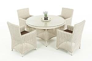 Asiento de Polirratán Grupo cp413, mobiliario de jardín Lounge Juego de ~ color blanco perla, cojín terrabraun