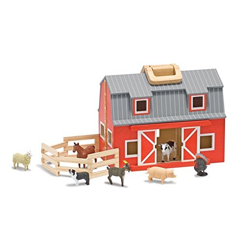 Melissa Unisex And Doug Wooden Fold Go Barn Set No Color One Size (Set Wooden Barn)